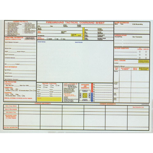 General Fireground Command Sheet Pad