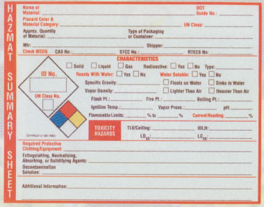 General HazMat Summary Sheet Pads