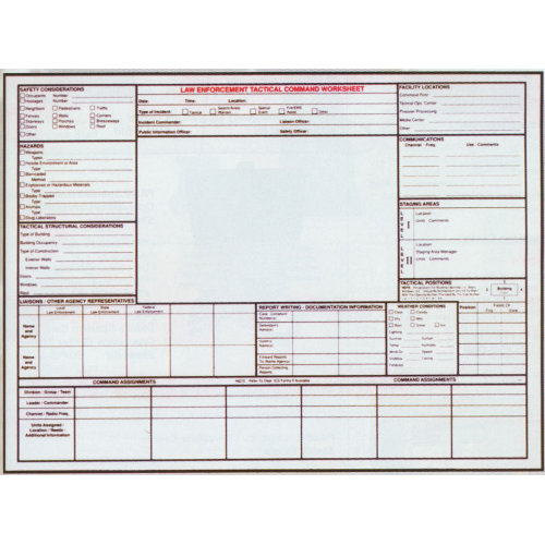 General Laminated Law Enforcement Tactical Command Worksheet